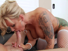 Blonde eager mom with hooters loves to receive an anal pounding
