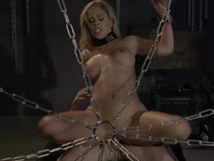 A restrained up babe is having her darkest fantasies come true today