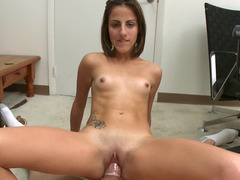 Wonderful short haired rookie bitch with tiny titties rides a flag pole