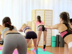 FitnessRooms Youthful teen cuties have an intercourse gym teacher