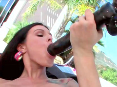 Wicked bitch Sea fucks her depilated tight pussy with a huge sextoy