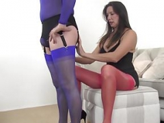 Gimp thrall worships MILFs sexy nylon covered feet and legs
