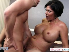 Sexy brunette eager mom Shay Fox gives blowjob