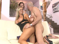 Breasty blonde darling gets assfucked in front of her daughter