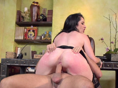 A brunette with a sizeable booty is getting her sizeable tits groped
