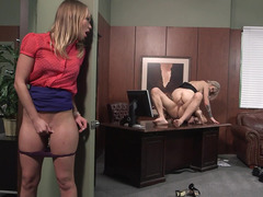 A female with sexy tattoos is getting fucked in the office deeply