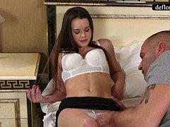 Defloration - a proficient takes Mirella's virginity