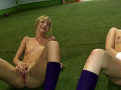 Sporty soccer babes have a lesbian real hardcore orgy on the practice field