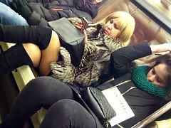 aged legs on train