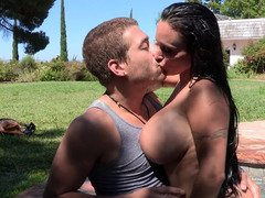 A dame that has sizeable titties is getting fucked and licked by the pool