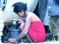Indian Gal Washing Outdoors