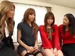 Pretty Asiatic trannies group orgy