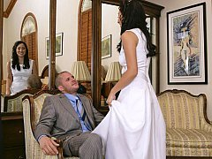 Excited brunette bride gets naile by a customer