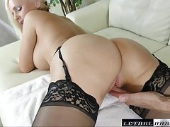 Boobalicious blonde Alena gets a huge ramrod, deep inside her pussy