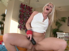 Blonde is getting her anus filled with a dudes massive pole!