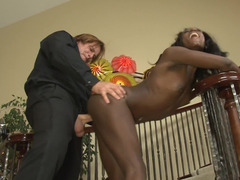 Ebony maid has to follow each and all the instruction of white dude