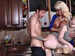 Dolly Leigh and furthermore Alura Jensen shares a big cock sucking it down
