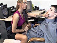 Fantastic secretary gives hot female domination handjob