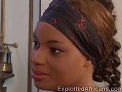 White perv fucks hot African maid in sexy latex uniform
