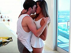 Sensually kissing preparing to have an intercourse