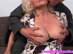 Utterly old grandma gets down and dirty with a young stud