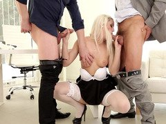 A blonde gets out of her maid uniform and moreover then she gets fucked