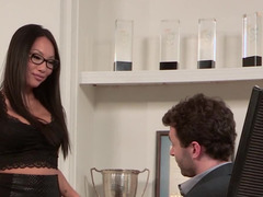 A bitch with glasses gets her pussy spread open by a cock