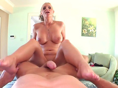 Raunchy blonde hoe does everything to milk her man's cock