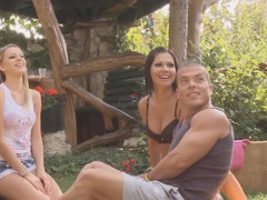 Girlfriend swapping foursome in the grass with two beauties