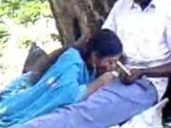 Indian shy chick giving head in park