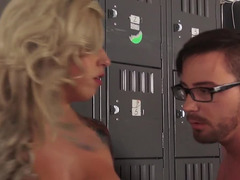 A blonde gets fucked in the school at the bottom of the stairs