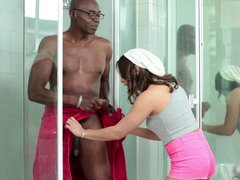 Black lad is in the shower with a youthful hoe, fucking her in the face