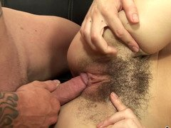 A bushy grown-up woman is getting her cum bucket penetrated deeply