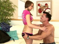 Adorable babysitter gets nailed by a handsome Latino lover