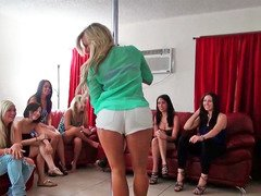Chicks are dancing around a pole and moreover are undressing