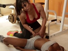 Asian and moreover ebony chicks are in the gym, fooling around