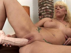 Heidi Mayne has an intercourse a obese foot long dildo into her twat