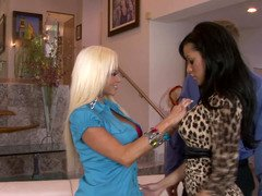 Excited husband fucks his bimbo domme as the wife watches