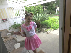 Whole cutie in a pink pleated skirt is here for a facial