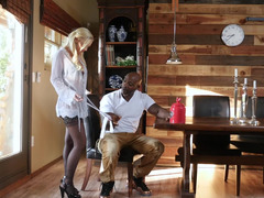 Finally black dude welcomes blonde prostitute at his house
