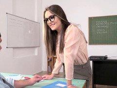 Slutty teacher helps student by having backdoor sex with him