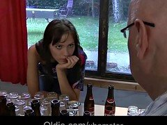 Youthful waitress rectal fucked by two aged men for bar cum shot