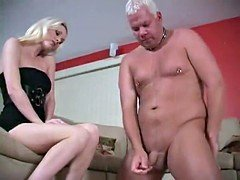 Aged cuck dependent had to lick cum