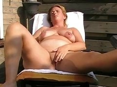 Old with saggy tits jacking off and moreover toying