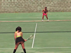 A pair of babe are playing tennis and also betting before having sex