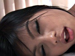 Delicate and sexy Asian girl fucked in her shaven muff