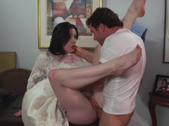 Brunette bride's holes get penetrated by functional couturier's cock