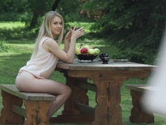 Pretty blonde and plus her swain make love outdoors
