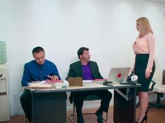 Secretary's face receives a cum eruption after sex with her boss