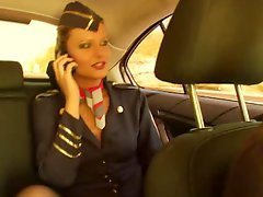 Having an intercourse the flight lascivious stewardess